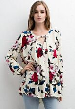 NWT Jodifl Anthropologie Ivory Red & Blue Rose Floral Blouse SZ L LAST ONE!