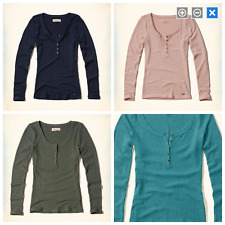 NWT Hollister Wide Ribbed Henley Tee 4 Colors Available