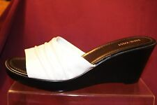 "NEW WOMEN'S NINE WEST SHOES WHITE PLATFORM SANDALS - 3.5"" WEDGE HEEL - NWOB"