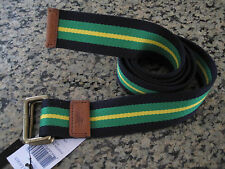 NEW RALPH LAUREN POLO Preppy Blue Stripe Belt with Leather and Brass Accents