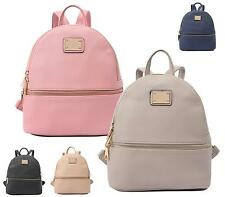 UNISEX FAUX LEATHER RETRO ZIP BACKPACK RUCKSACK SCHOOL COLLEGE TRAVEL BAG