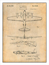 1935 B17 Flying Fortress Patent Print Art Drawing Poster 18X24