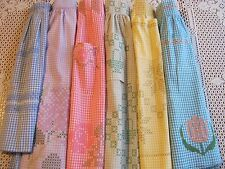 Lot of 6 Vintage Ladies Half Aprons GINGHAM Embroidered Chicken Scratch