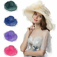 Women's Kentucky Derby Hat Church Hat Wedding Organza Dress Hat Tea Party Hat #8