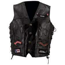 Diamond Plate™ Rock Design Genuine Buffalo Leather Biker Vest GFVBIK144X-7X