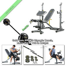 Gold Gym XRS 20 Olympic Bench Weight Lifting Workout with Rack or 110 lb Weights