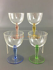 4 vintage cordial or wine glasses - green blue pink yellow