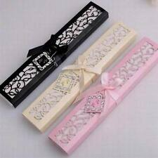 Newest 1 Set Box Wedding Wooden Hollow Vintage Lace Silk Folding Hand Fan