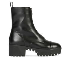 Womens Zip Up Lug Chunky Platform Cleated Ankle Boots In Black Faux Leather 3-8