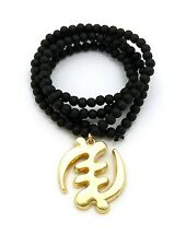 """African Gye Nyame Symbol Pendant Charm 30"""" Wood Bead Chain Necklace Mens Jewelry"""