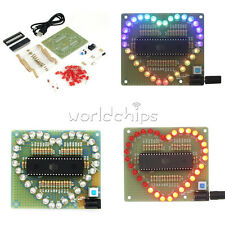 Heart Shaped LED Red Blue Colorful Light Water Electronic Suite Set Gift DIY Kit
