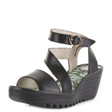 Womens Fly London Yesk Rug Black Leather Strappy Wedge Heel Sandal Shoes Size