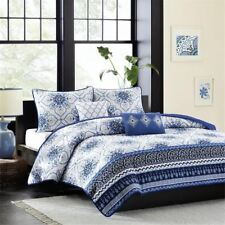 Navy Blue & White with Grey Accents Coverlet Quilt Set AND Decorative Pillows