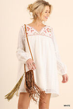 UMGEE Dress S M L Long Sleeve Floral Embroidered Lace Boho Swing Tunic White