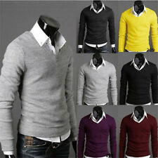 1Pcs Casual Velvet Slim Sweater V-neck Tops Jumper Knitted Fashion New Men's