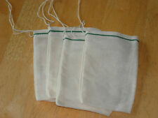 Cotton Muslin Bags with Green Hem and White Drawstrings – 2 Sizes of bags