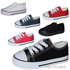 New Toddler Boys Girls Low Top Canvas Tennis Shoes Kids Skater Sneakers Lace Up