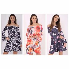 Ladies Womens Floral  off the shoulder Bardot Jumpsuit Playsuit  UK Size 8-18
