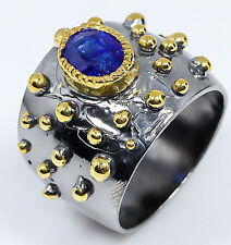 Handmade Jewelry Blue Sapphire 925 Sterling Silver Ring Size 8