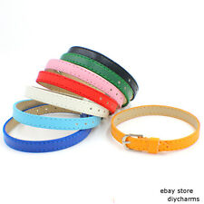 8*210mm Copy Leather Buckle PU Leather Wristband Fit 8mm Slide Charms Letters