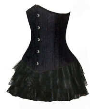 Black Full Steel Boned Underbust Corset + Skirt Lace Victorian Gothic