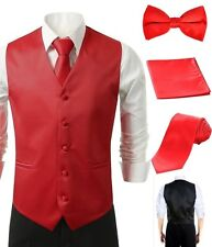4Pcs Vest Tie Hankie Fashion Men's Formal Dress Suit Slim Tuxedo Waistcoat Red