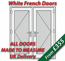 White uPVC French Doors - NEW - White handles, GOLD spacer bars - open out