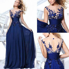 Long Wedding Applique Evening Prom Gown Cocktail Party Formal Blue Dress