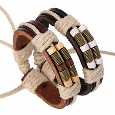 Fashion Surfer Handmade Charm Hemp Leather Braided Mens Wristband Bracelet Cuff