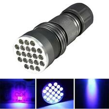 New 21 LED 395 nM UV Ultra Violet Blacklight Flashlight For CSI Inspection Light