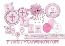 NEW Pink Radiant Cross Girls Communion Confirmation Christening Party Tableware