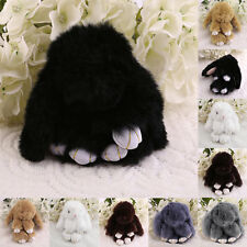 6 inch Cute Fluffy Bunny Rabbit Key Chain Ring For Phone Bag Lucky Pendant BS