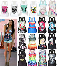 Summer Women Sleeveless T-Shirt Blouse 3D Printed Casual Slim Tank Tops Vest Tee
