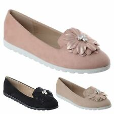 LADIES WOMENS SLIP ON FLAT BALLERINA FLOWER DIAMANTE PUMPS LOAFERS SHOES SIZE