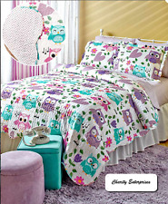 *New 2017 Sports Or Owl Themed Twin Or Full /Queen Reversible Quilt Bedding Sets