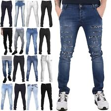 Seven Series Mens Ripped Cut Destroyed Whiskers Faded Trousers Biker Jeans Pants