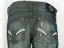 """AFFLICTION JEANS """"Blake-Standard A"""" Relaxed Straight Fit Kowloon Wash 36 X 34"""