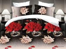Duvet Cover Pillowcase Quilt Cover Bed Set Queen Size Love Ring Red Roses SETUS