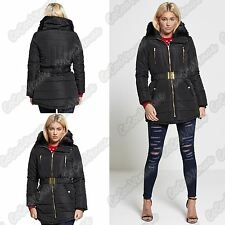 New Ladies Belted Puffa Coat Fur Hooded Puffer Padded Brave Soul Winter Jacket