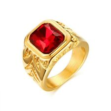18k Gold Plated Band Stainless Steel Men's Red Rhinestone Wedding Ring Size 8-12