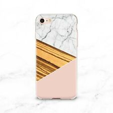 Gold Geometry Stone Marble Soft Rubber Case Cover Back For Apple iPhone 6 7 Plus