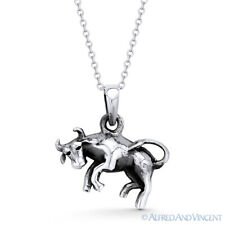 Taurus the Bull Zodiac Sign Animal Pendant Luck Necklace in .925 Sterling Silver