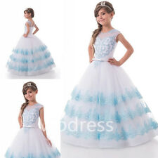 Sky Blue Flower Girl Dresses Lace Appliques Pageant Prom Party Ball Gowns Custom