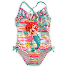 THE LITTLE MERMAID PRINCESS ARIEL STRIPE SWIMSUIT GIRLS 1PC SIZE 2 DISNEY STORE