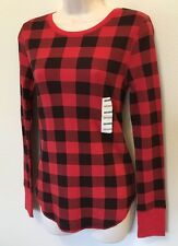 Old Navy S Top Shirt WOMENS Semi Fit Waffle Print Red Plaid Long Sleeve NWT