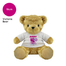 PERSONALISED NAME BIRTHDAY SOFT TOY VICTORIA TEDDY BEAR PRESENT FUN KIDS GIFT