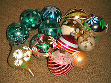 Lot of 13 ~ Vintage Glass Christmas Tree Ornaments 1960s/1970s