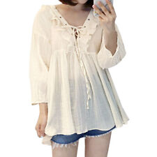 Women Lace Up V Neckline Long Sleeves Ruffled Front Loose Tunic Top
