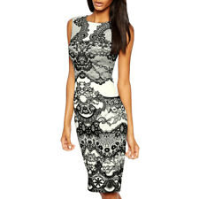 Women Crew Neck Sleeveless Floral Prints Sheath Dress