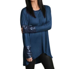 Women Scoop Neck Long Raglan Sleeves Sequined High Low Hem Loose Fit Tunic Top